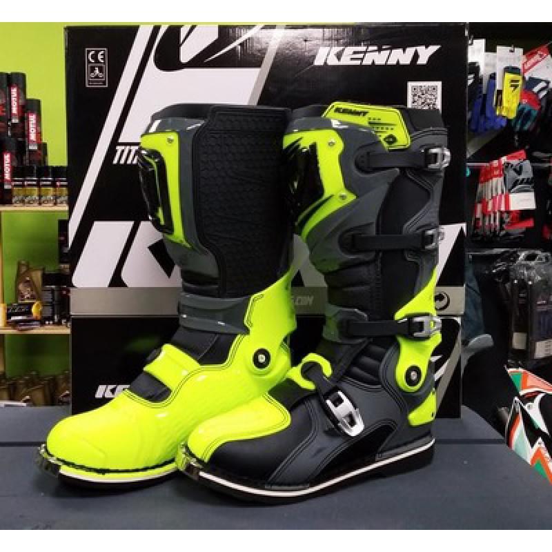 Мотоботы KENNY Bottes-Titanium Grey/Neon-Yellow (44)
