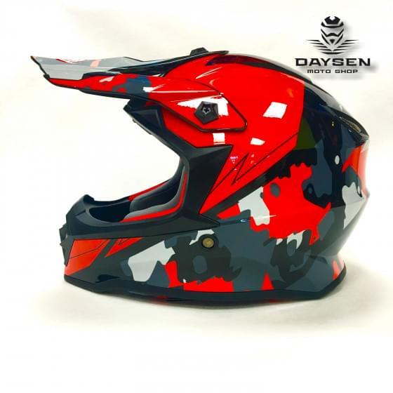 Мотошлем детский XXDD FS - 608 (Glossy white red, M)