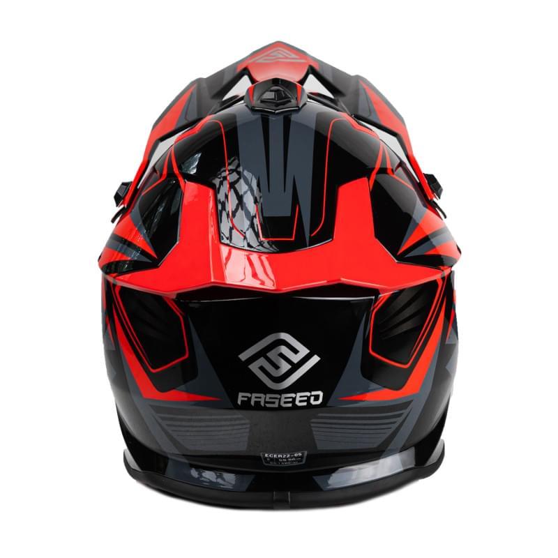 Мотошлем FS-609 PKQH (Glossy black red, L)
