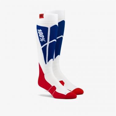 Носки 100% Hi-Side Performance Moto Socks White/Blue S/M