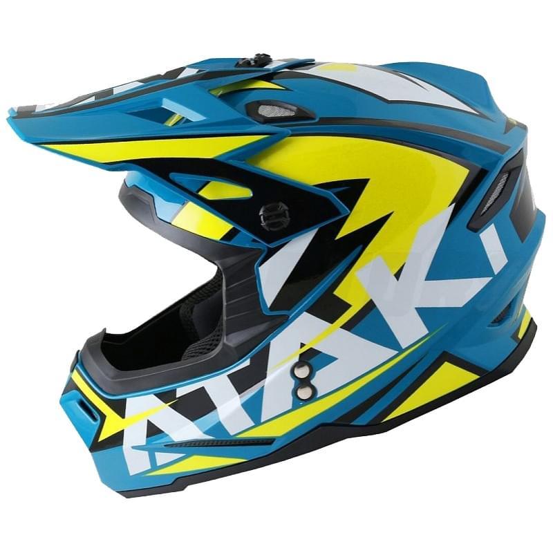 Шлем кроссовый Ataki JK801 Rampage (синий/желтый глянцевый, XL)