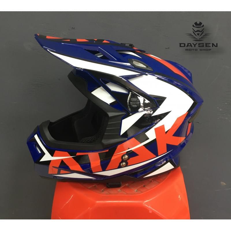 Шлем кроссовый Ataki JK801 Rampage (синий/красный глянцевый, XL)