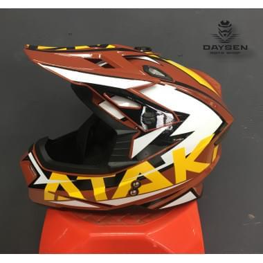 Шлем кроссовый Ataki JK801 Rampage (коричневый/желтый глянцевый, L)