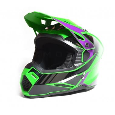 Шлем кроссовый SHOCK-M1 GREEN/PURPLE (G3) (L 59-60 см)