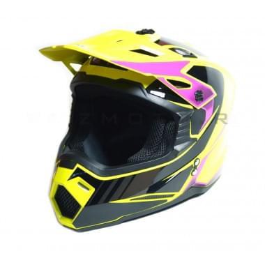 Шлем кроссовый SHOCK-M1 YELLOW/PINK (G2) (M 57-58 см)